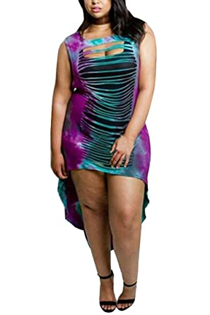 3560c87fdf5 Meenew Women's Color Block T Shirt Oversized Loose Printed Dress Purple M