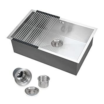 Commercial Stainless Steel Top Mount Kitchen Sink 18 Gauge Single ...