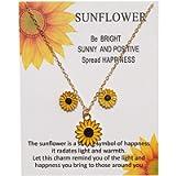 Necklace,la luen Sunflower Earrings Necklace Set Fashionable Personality Alloy Oil drip Collarbone Necklace Ear Stud…