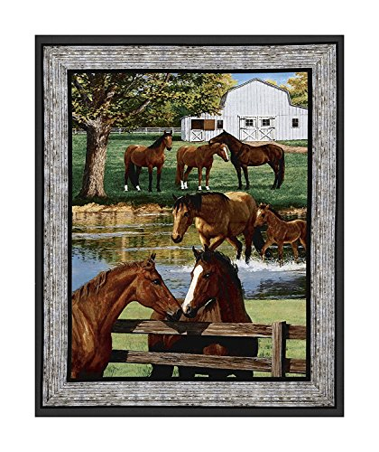 Horse Farm Scenic Cotton Fabric Panel (Great for Quilting, Sewing, Craft Projects, Quilt or Wall Hanging) 36