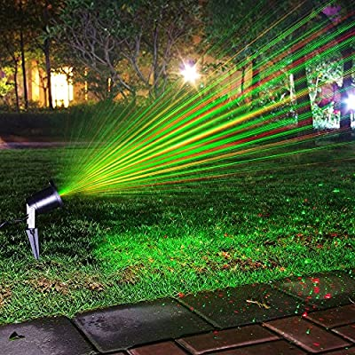 Escolite Landscape Lights Laser Party Christmas Lights Spotlights Green Red IP65 Waterproof Star Projector Outdoor Lighting for Garden Patio Backyard Holiday Decoration with Wireless Remote Controller