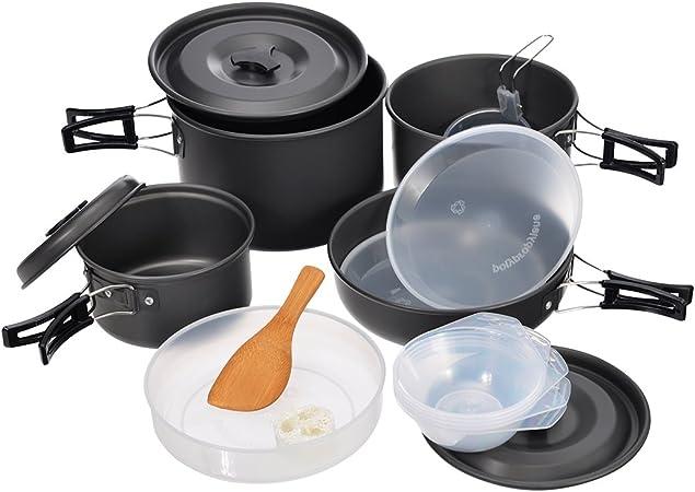 Hisea Utensilios de Cocina para Acampada Set Cocina Ollas y ...