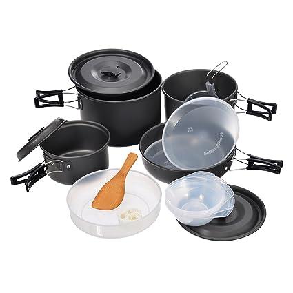 Hisea Utensilios de Cocina para Acampada Set Cocina Ollas y sartenes para Camping Senderismo Mochila Picnic