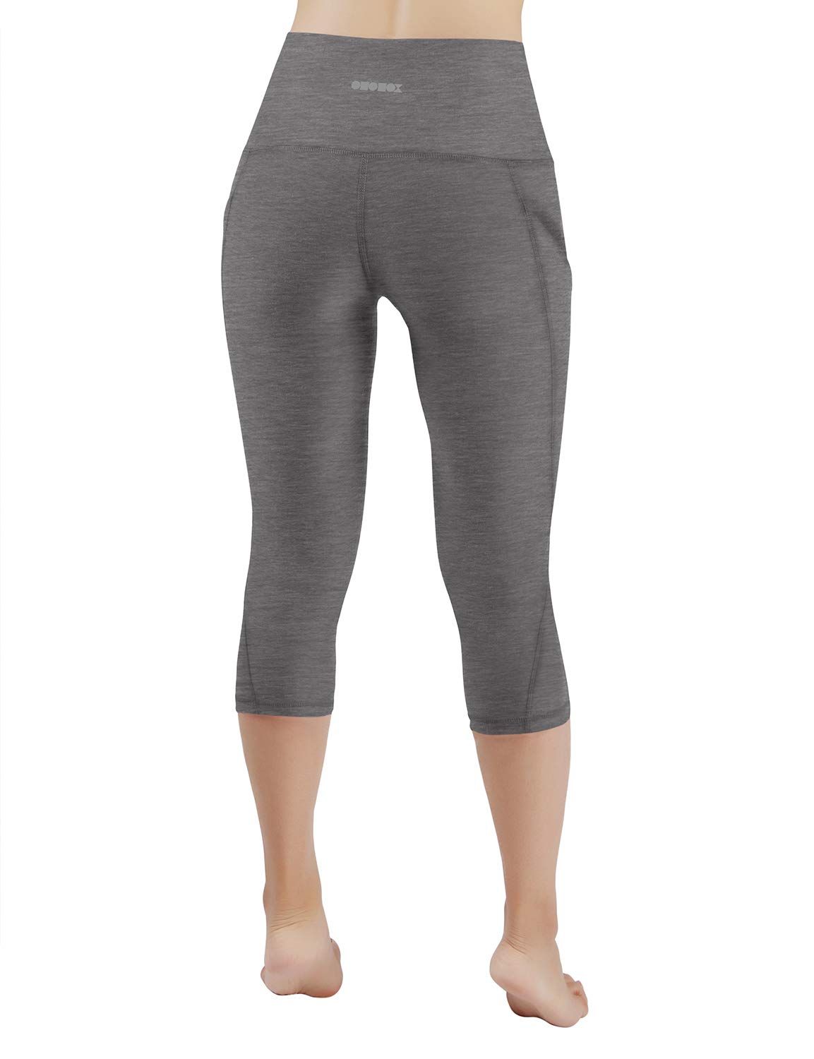 ODODOS High Waist Out Pocket Yoga Capris Pants Tummy Control Workout Running 4 Way Stretch Yoga Leggings,Gray,X-Small by ODODOS (Image #3)
