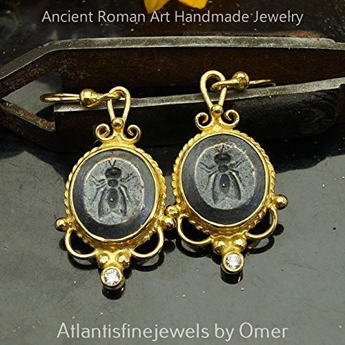 (Roman Art Fly Coin 2 Tone Earrings 925 k Sterling Silver 24k Gold Vermeil Handmade Turkish Jewelry)