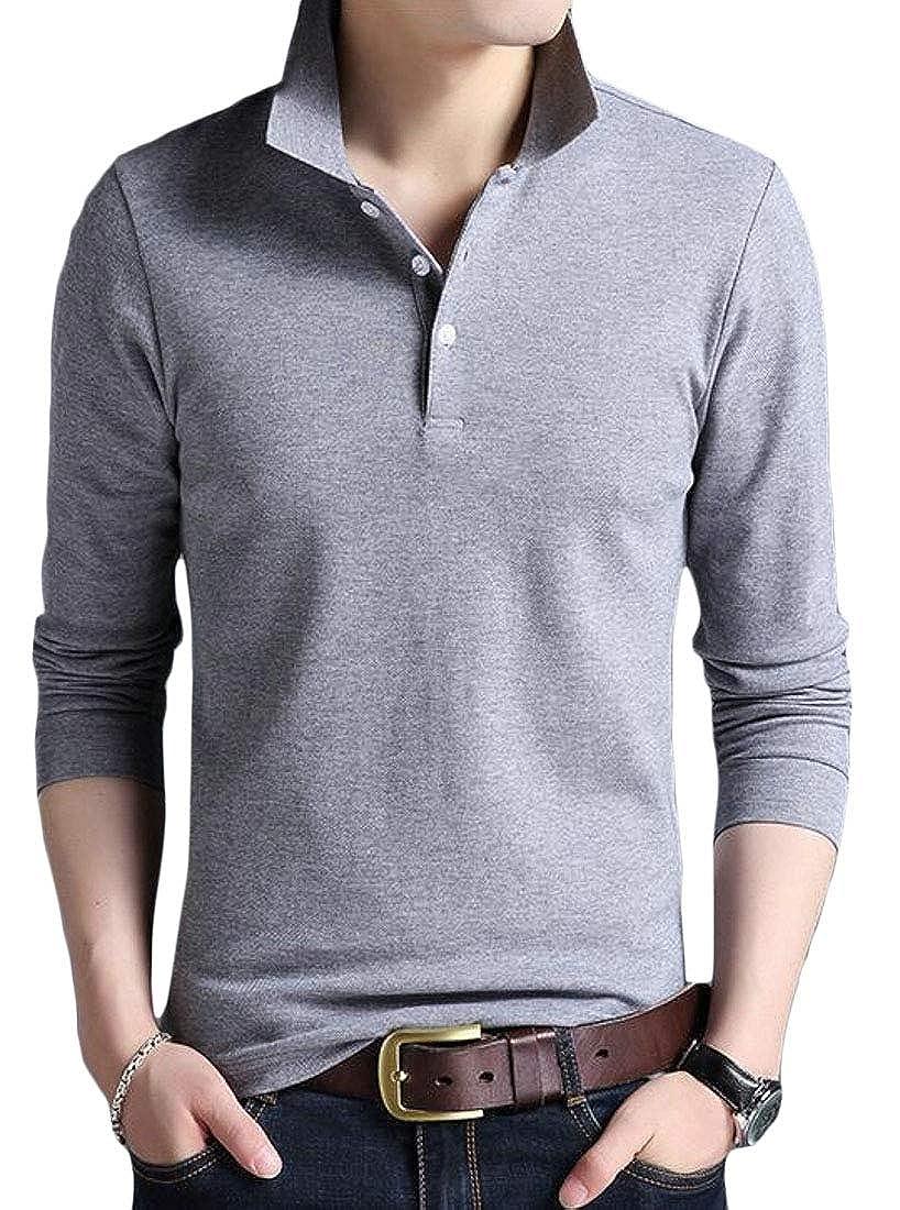 WSPLYSPJY Mens Polo Shirt Long Sleeve Collar T Shirts Tee Casual Slim Fit Tops