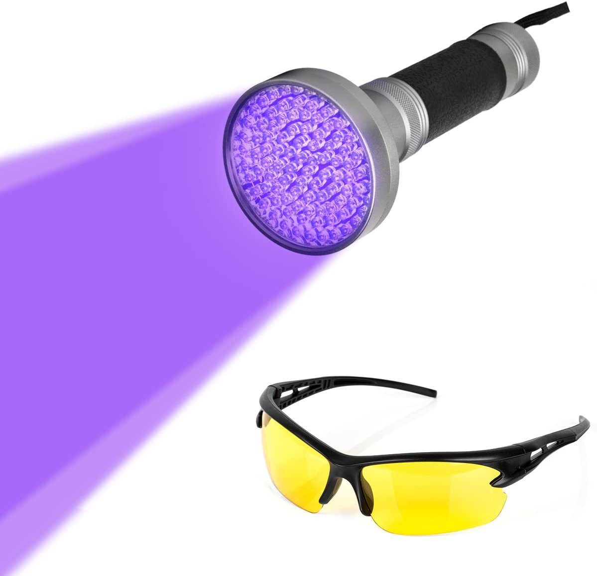 UV Taschenlampe 100 LED Ultraviolett  Handlampe Lampe 395m mit Schutzbrille DHL