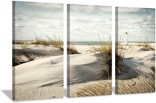 Beach Artwork Seascape Picture Prints: Coastal Sand Dunes Picture Wall Art on Canva