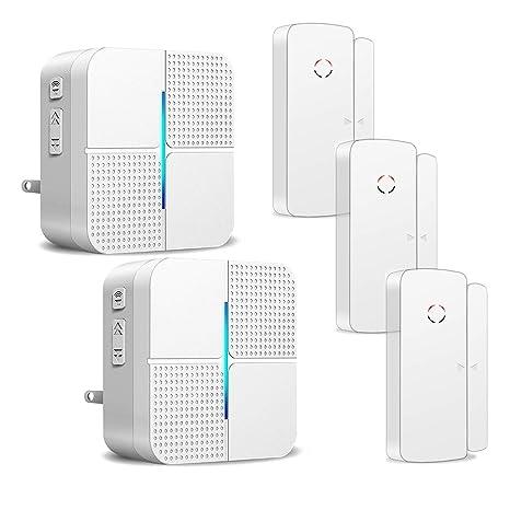 Wireless Door Open Chime Alert Door Entrance Entry Alarm for Business Home Store Office 2 Receiver & 3 Magnetic Window Sensor 52 Ringtones 4 Volume ...