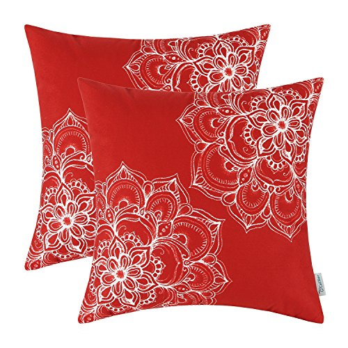 Pillows Designer Throw Floral - CaliTime Pack of 2 Cozy Fleece Throw Pillow Cases Covers for Couch Bed Sofa Vintage Dahlia Floral Both Sides 18 X 18 Inches Scarlet Red