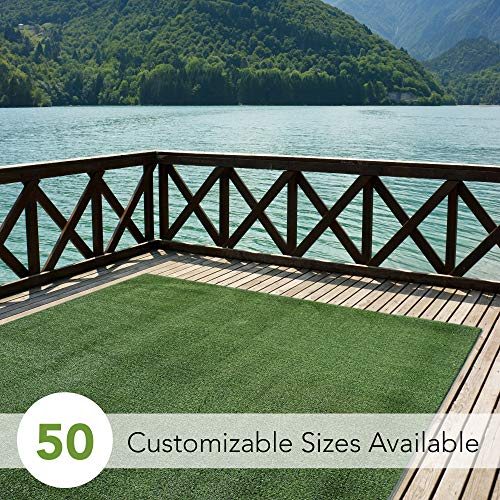 Indoor/Outdoor Turf Rugs and Runners in Green 12' X 8' Low Pile Artificial Grass in Many Custom Sizes and Widths with Finished Edges with Binding Tape (For Best Outdoor Decks Carpet)