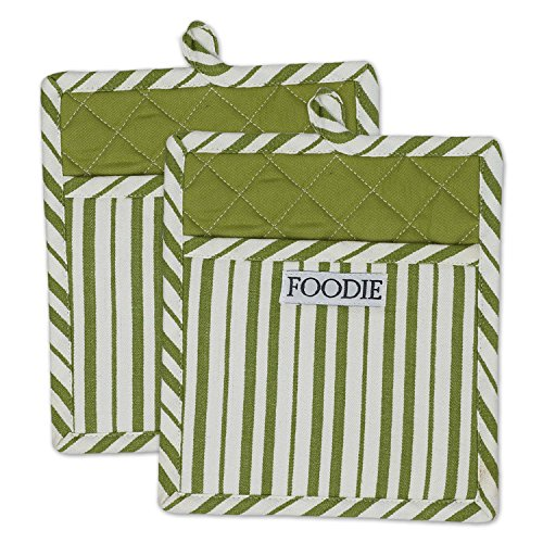 DII Cotton Gourmet Stripe Pot Holders with Pocket, 9 x 8