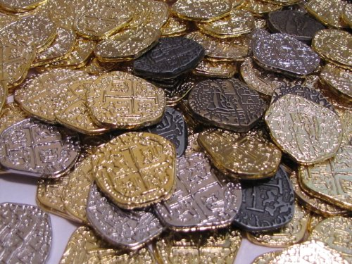 Silver Coin Gold (Pirate Treasure Coins - 30 Metal Gold and Silver Doubloon Replicas)