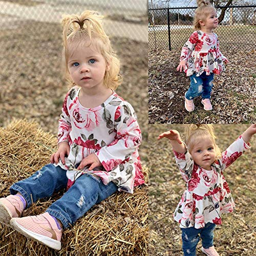 1e5a67091 2PCs Kid Toddler Baby Girl Fashion Clothes Ruffle Outfits Floral Shirt Tops  Denim Ripped Jeans Pants