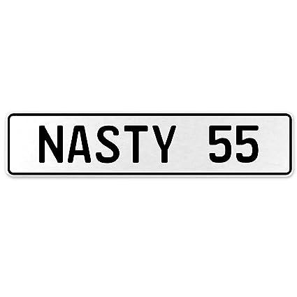 Vintage Parts 556929 Nasty 55 White Stamped Aluminum European License Plate