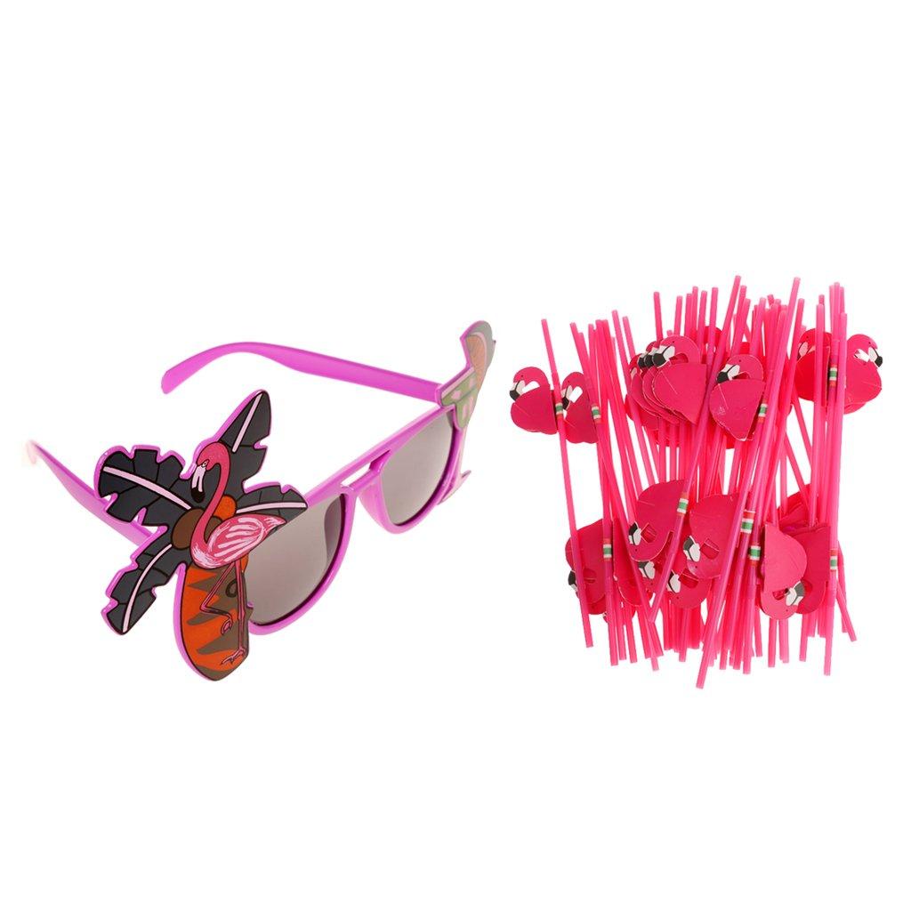 Sharplace Gafas de Sol de Flamingo + 25 Piezas Tiki Pajitas ...
