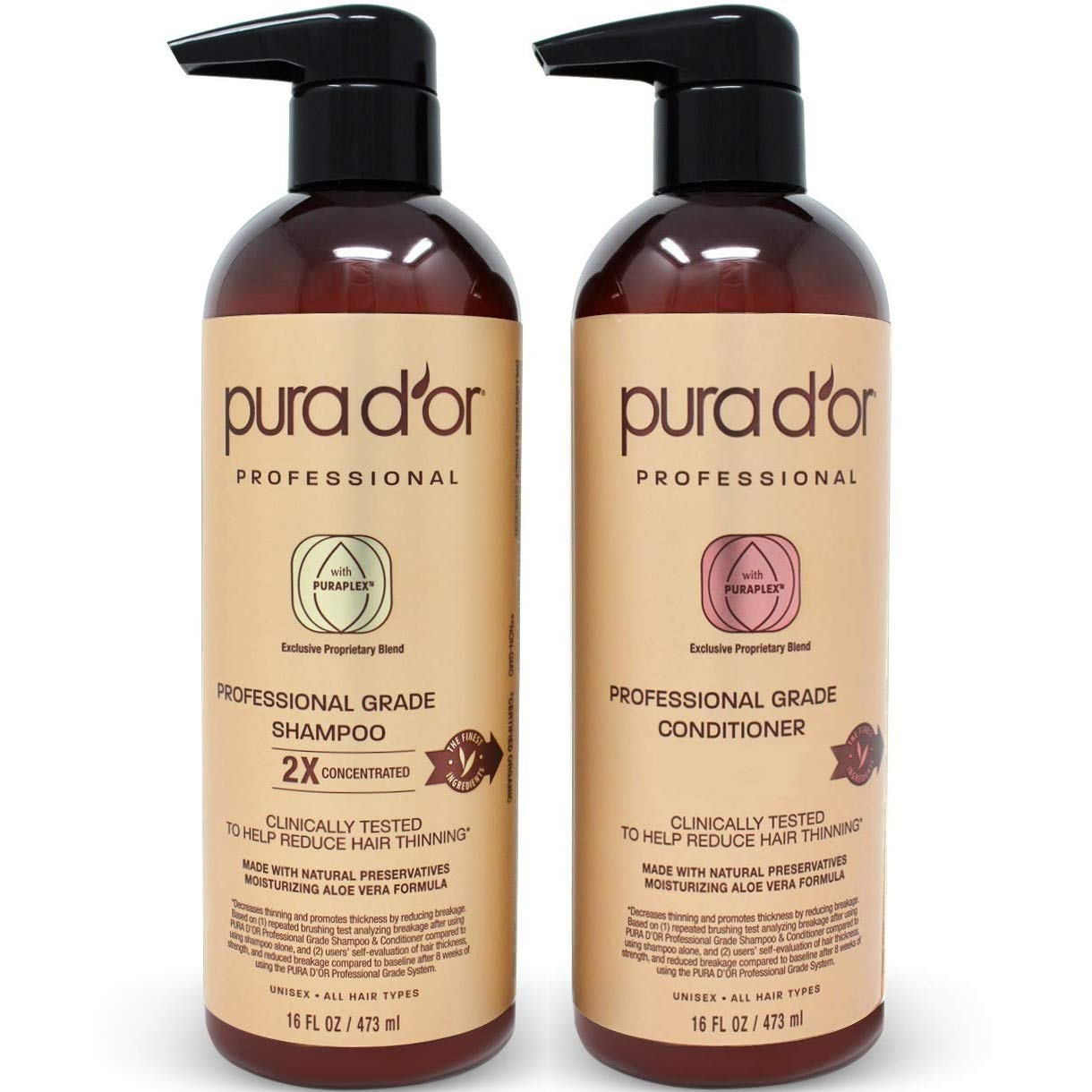 PURA D'OR Professional Grade Golden Biotin Anti-Hair Thinning 2X Concentrated Actives Shampoo & Conditioner Set, Sulfate Free, Natural Ingredients, Clinically Tested, Men & Women (Packaging may vary)