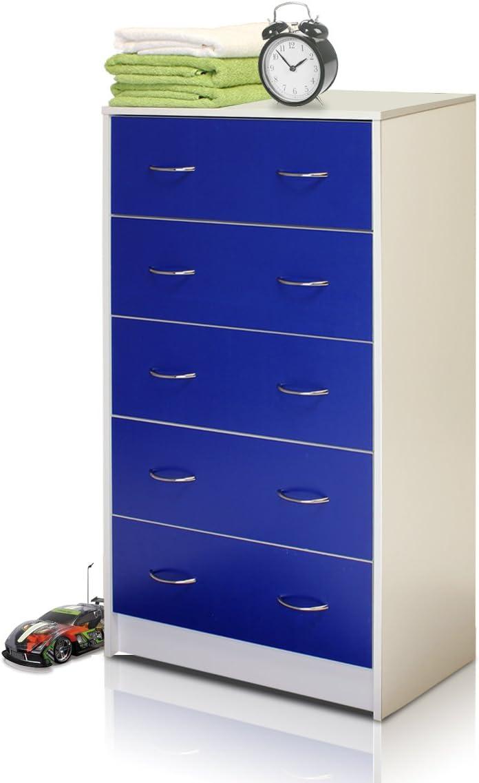 Furinno NT-11259WH/BL Click N Easy - Cajonera con 5 cajones (2 Tonos), Color Blanco y Azul: Amazon.es: Juguetes y juegos