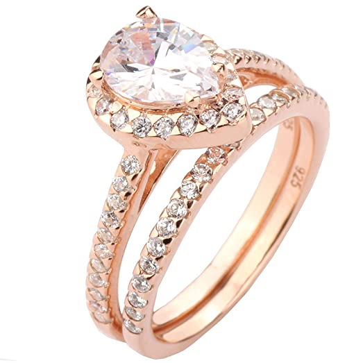 rose gold plated sterling silver 925 pear shape cubic zirconia eternity halo wedding ring set size - Pear Shaped Wedding Ring Sets