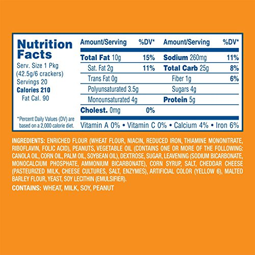 Lance Toast Chee Peanut Butter Crackers, 40 Count (Pack of 2)