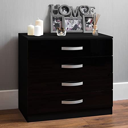 Riano 4 Drawer Chest Walnut Wood Dresser Bedroom Storage Furniture Unit