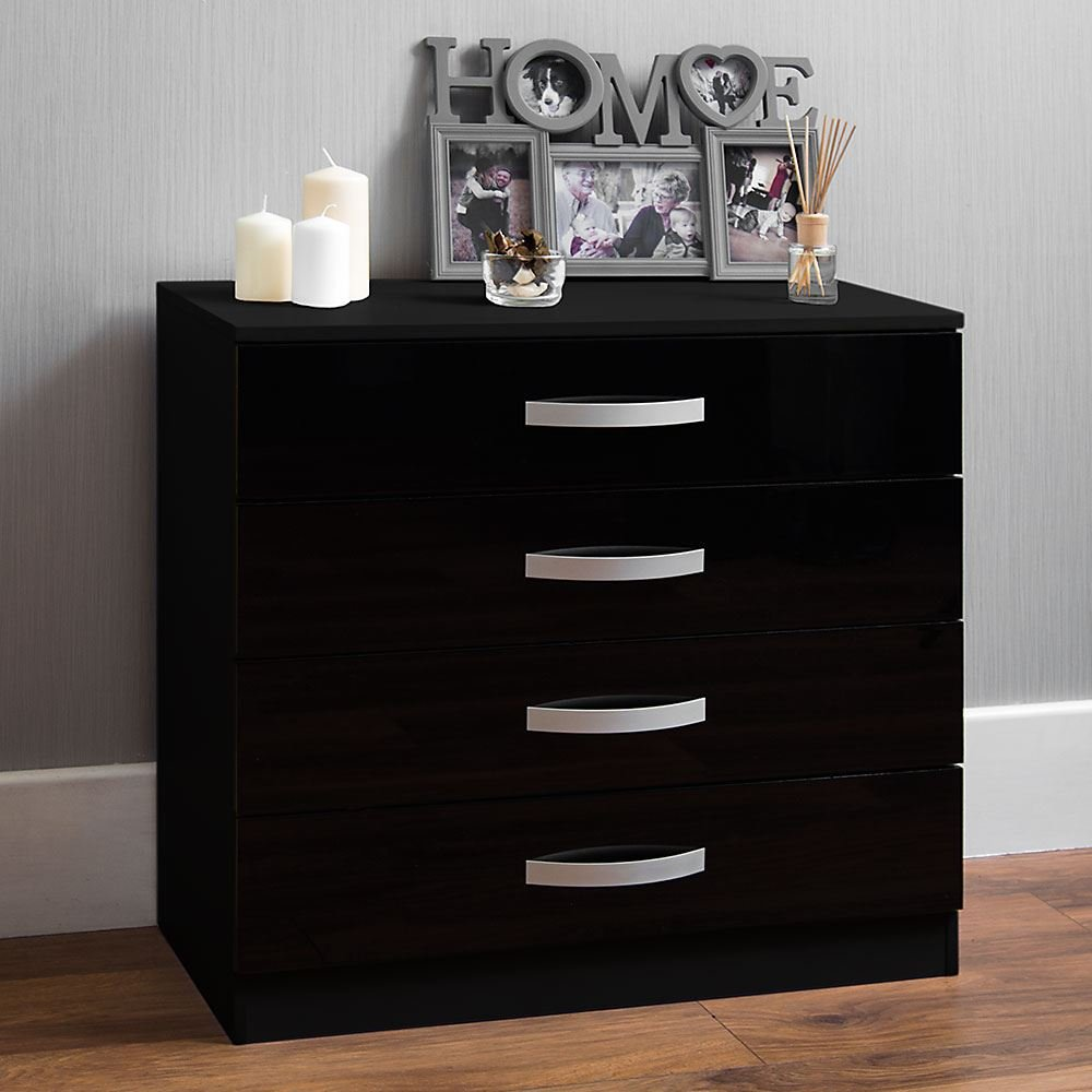 Home Discount Hulio High Gloss Chest Of Drawers Black, 4 Drawer With Metal Handles & Runners, Unique Anti-Bowing Drawer Support, Bedroom Furniture