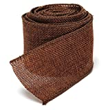 5M Home Decoration Natural Linen Wedding Party Burlap Wreath Jute Burlap Ribbon Lace Craft Gift Wrap Rustic Fabric Supplies (Brown)