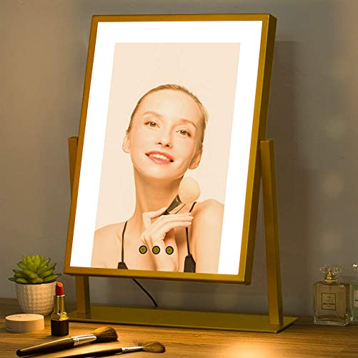 WAYTRIM LED Lighted Vanity Mirror, Hollywood Style Makeup Cosmetic Mirrors, Touch Control Design Memory Function, 360 Rotation – Gold