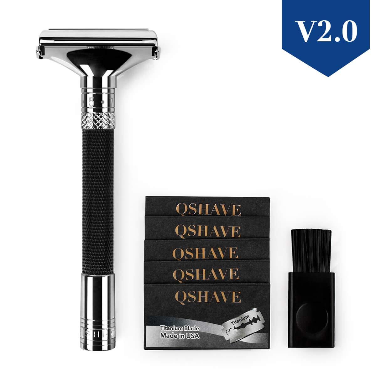 QSHAVE Parthenon Razor V2.0, 9 Degrees Adjustable Double Edge Safety Razor (Black)