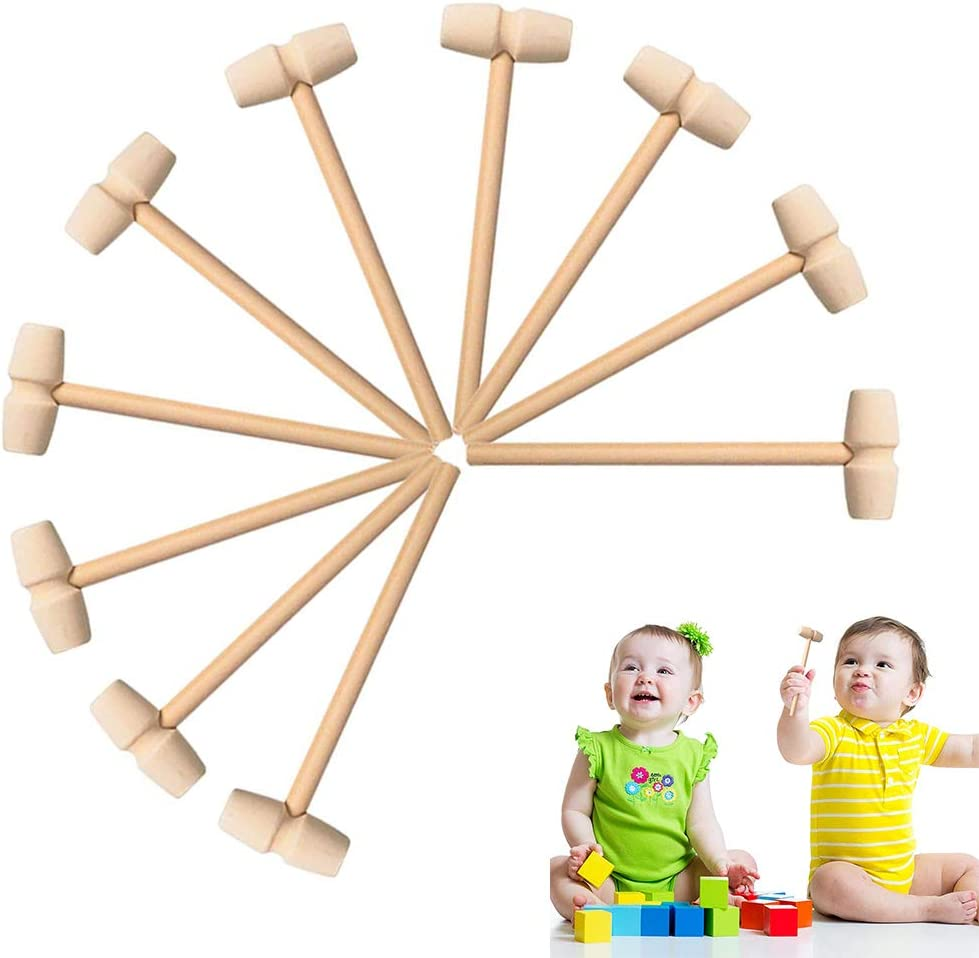 Mini Wooden Hammers,Nut Seafood Tools, Small Wooden Mallets (10pcs)