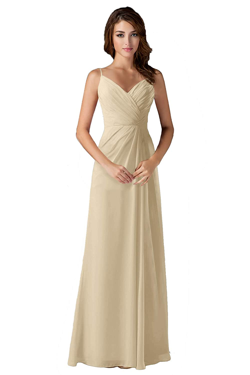 Champagne ANGELWARDROBE V Neck Spaghetti Strap Bridesmaid Dresses Long Wedding Party Gown