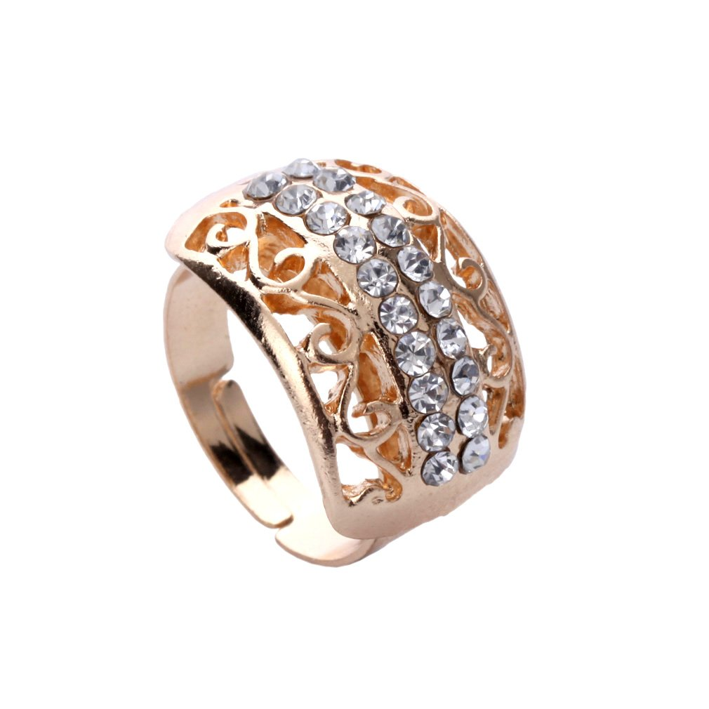 Yazilind plaqu/é Or Collier Creux Bracelet Earings Anneau Strass mari/ée Parures