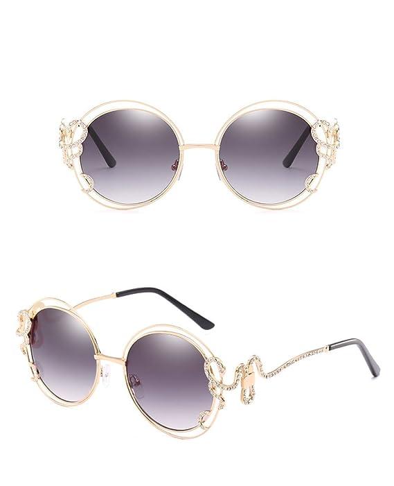 Z&HA Große Runde Sonnenbrille, Double Circle Metalldrahtgestell ...