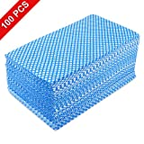 Healon Disposable Cleaning Towel 100pcs Towels Multipurpose Nonwovens Non-Woven Kitchen Cleaning Nonstick Wiping Rag House Cleaning Cloth Washcloth Towel Absorbent Dry Quickly (Blue, 100pcs)