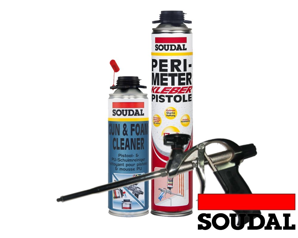Soudal Vajilla (1 x Perimeter adhesivo 750 ml + 1 x SOUDAL PU de limpiador 500 ml - selbstexpandierender adhesivo de poliuretano - Fácil montaje - Perimeter ...
