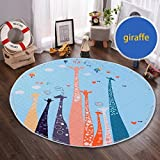 Round Kids Rug,Toys Storage Organizer,Nursery Rugs Large Cotton Anti-slip Cartoon Animal Baby Floor Mat Game Mat Area with Drawstring for Kids Room Living Room, 59x59 Inch (Giraffe)