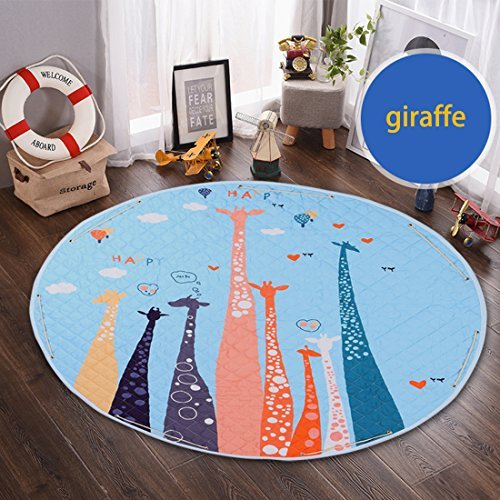 Round Kids Rug,Toys Storage Organizer,Nursery Rugs Large Cotton Anti-slip Cartoon Animal Baby Floor Mat Game Mat Area with Drawstring for Kids Room Living Room, 59x59 Inch (Giraffe) by okdeals