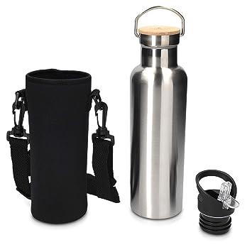 Navaris Botella térmica de 700ML - Termo de Acero Inoxidable con Tapa de bambú - Botella con Bolsa de Transporte y tapón con Boquilla