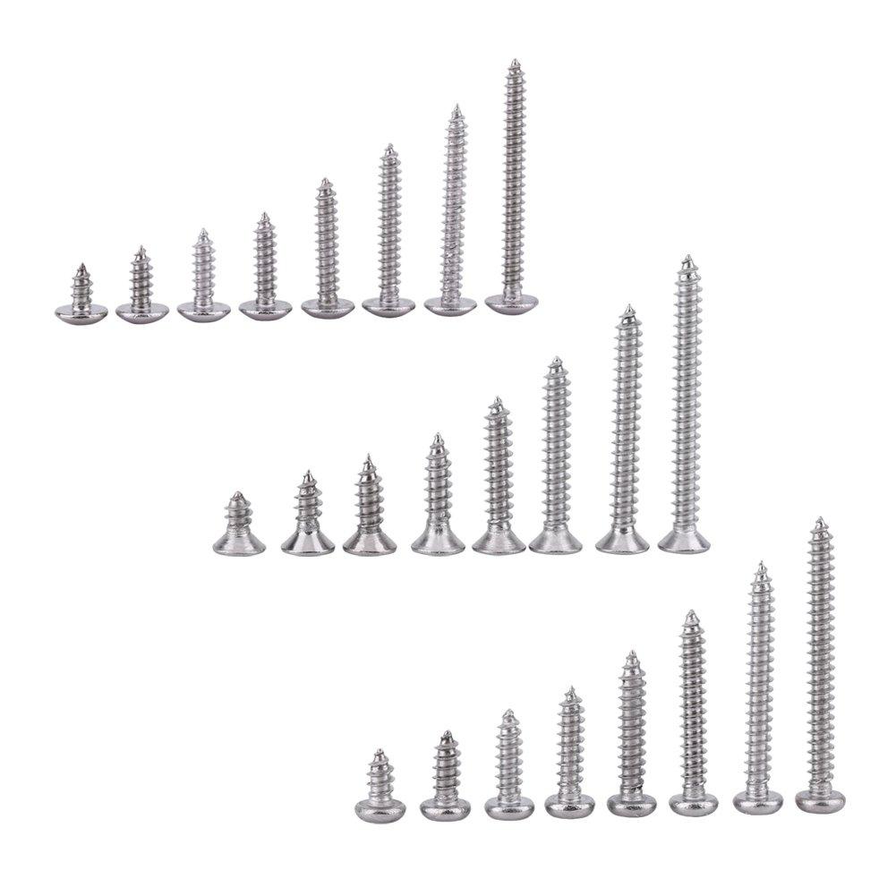 Set B Paquete de 200 piezas SS grado 304 de acero inoxidable M3 tornillos autorroscantes Kits de bloqueo tuerca de madera hilo Juegos de tornillos de clavo