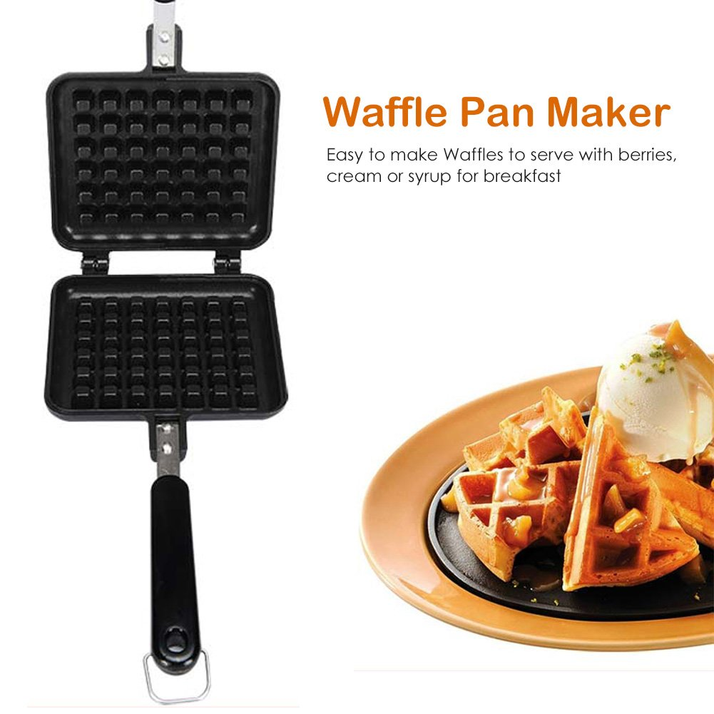 Old Fashioned Cast Iron waffle Baking Mold, Non-Stick DIY Waffle Cake Mould Tray With Handle for Stovetop