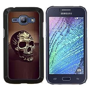 YiPhone /// Prima de resorte delgada de la cubierta del caso de Shell Armor - Cráneo amarillo de Bling del oro 3D Negro Muerte - Samsung Galaxy J1 J100