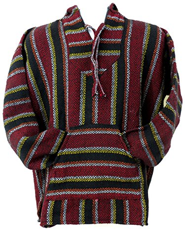 (Ethnic Identity Premium Baja Hoodie Drug Rug Not from Recicled Fibers (Small, Red/Black))