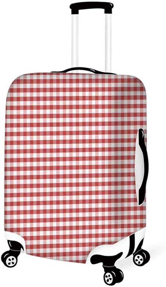 26.3W x 30.7H Checkered Stylish Luggage Cover,Purple and White Colored Gingham Checks Rows Picnic Theme Vintage Style Print Decorative for Luggage,L