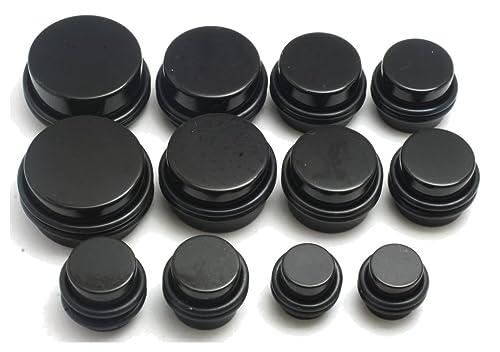 Amazon 14pc 00g 1 2 9 16 5 8 3 4 7 Inch Huge Plugs Ear Stretching Kit Black Gauges Jewelry