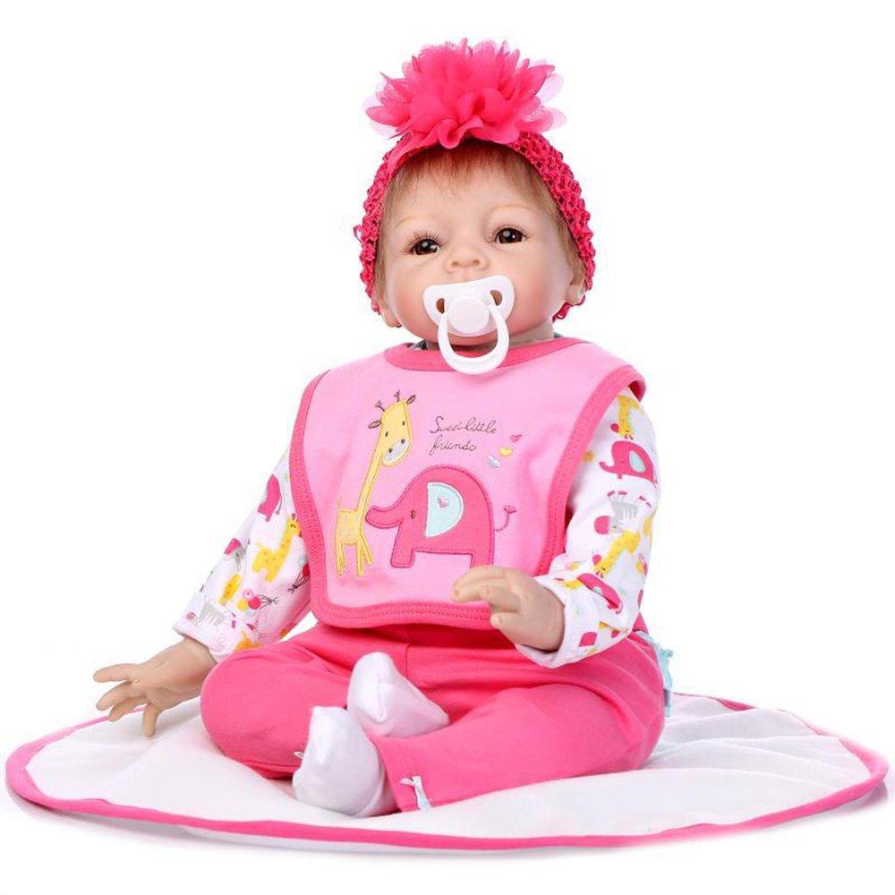 """decdeal 22 """" Rebirthベビー人形、Like Real Life新生児かわいいベビーガール人形ギフトwith Animal Bibs、ローズ   B07DGT4TQQ"""