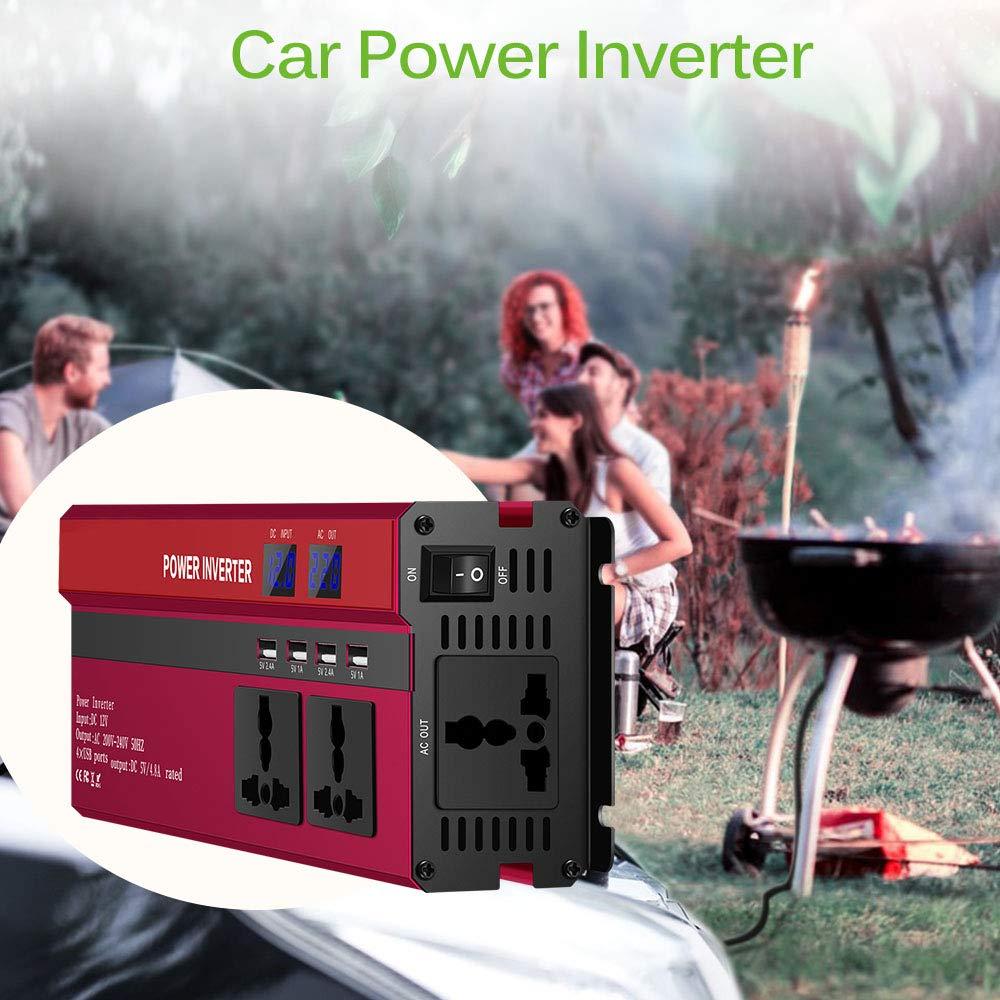 ONEVER 5000W de Potencia del inversor Solar del Coche LED DC 12V a 220V CA de Onda sinusoidal Converter con 4 interfaces USB Rojo: Amazon.es: Electrónica