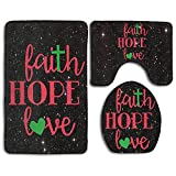 Faith Hope Love Wall Art Fashion Bath Mat Set 3 Pieces Indoor Decor Bathroom Rug Set Contour Mat Toilet Seat Cover