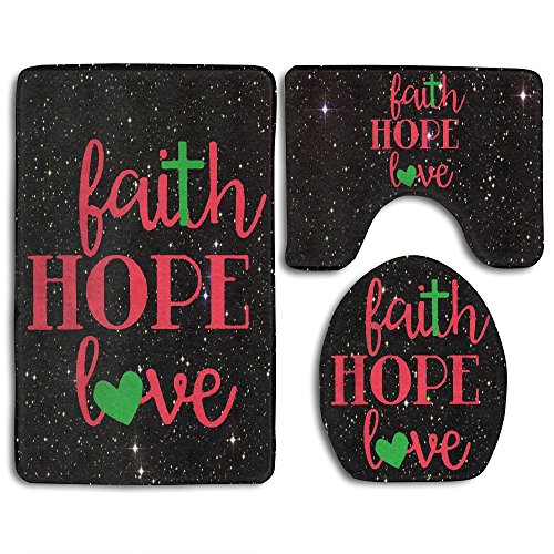 Faith Hope Love Wall Art Fashion Bath Mat Set 3 Pieces Indoor Decor Bathroom Rug Set Contour Mat Toilet Seat Cover by JYDPROV