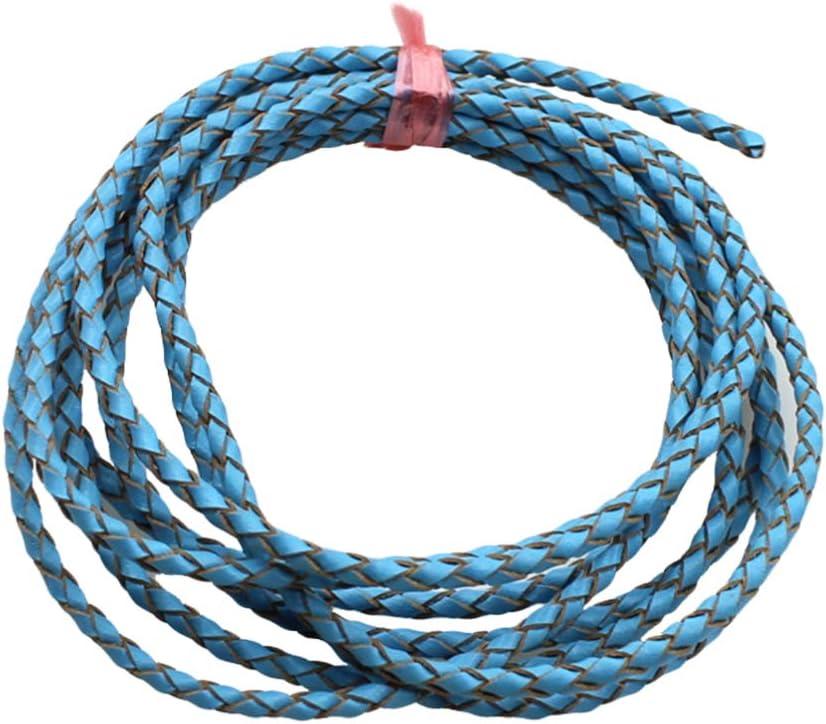 EXCEART 2m 3mm cuerda de cuero cuerda de cuero pulsera de cuerda de cuero trenzado haciendo cordón redondo para pulseras fabricación de joyas (azul)