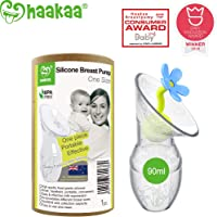 Haakaa Breast Pump Manual Breast Pump Silicone Pump with Flower Stopper Combo 100% Food Grade Silicone BPA PVC and Phthalate Free(3oz/90ml, Blue)